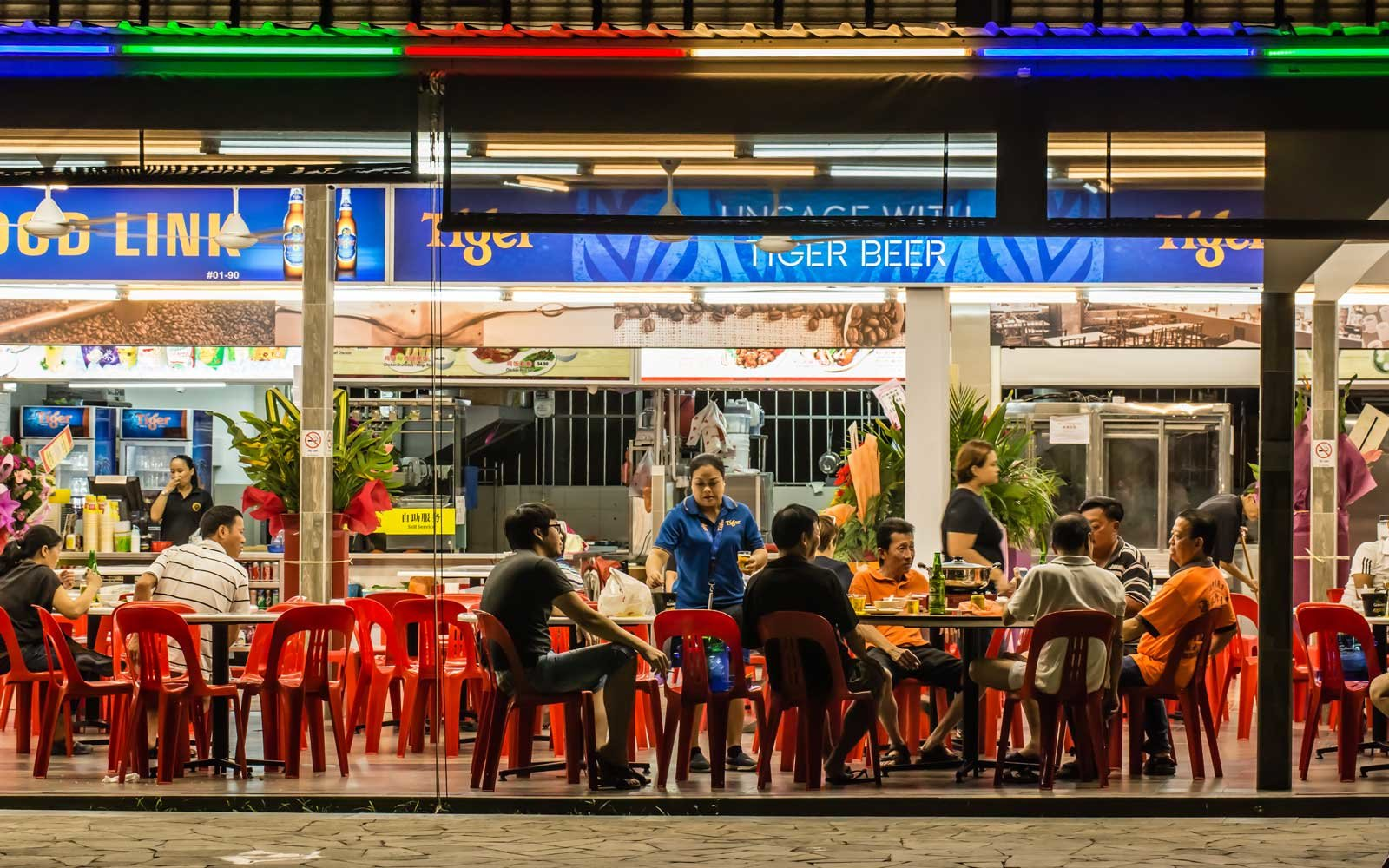 Singapore traditional food count in night