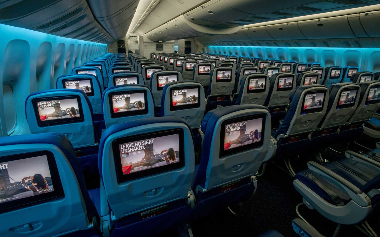 Delta Airlines main cabin seats with screens