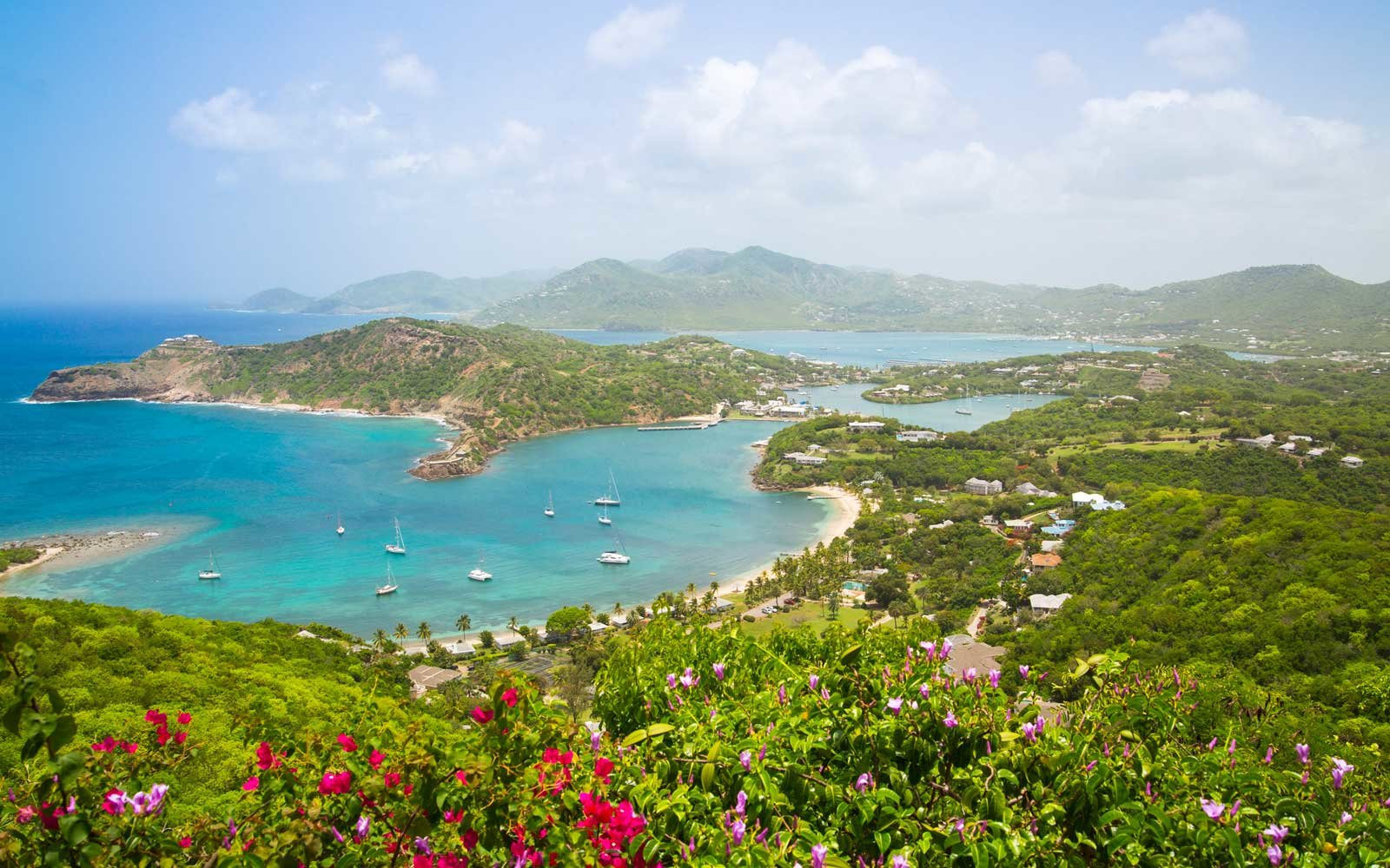 Antigua, English Harbour panoramic view with boats and yachts.