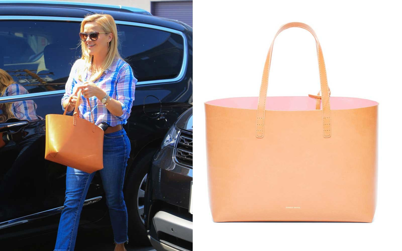 Reese Witherspoon carrying a Mansur Gavriel bag