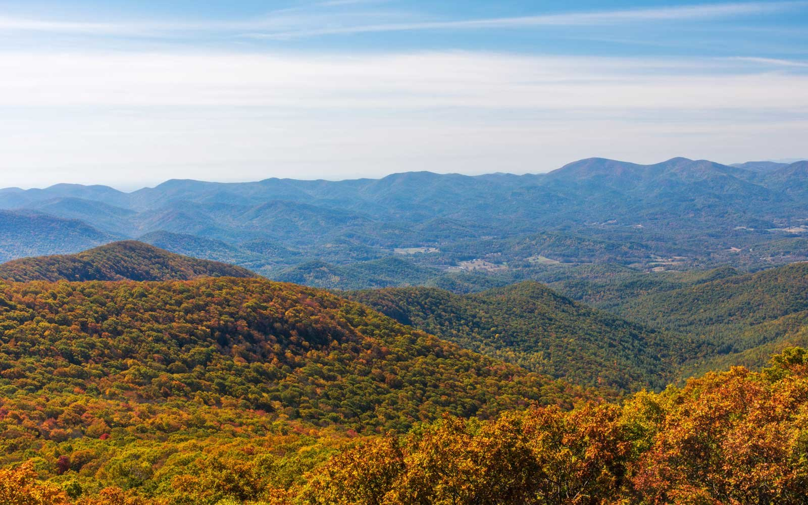 Autumn Landscape of the Blue Ridge Mountain Range
