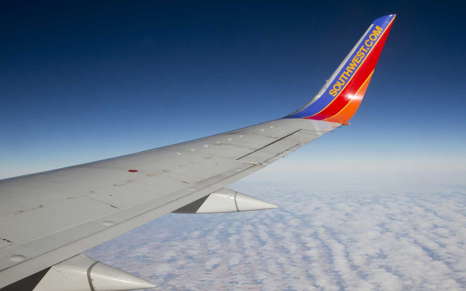 A Southwest Airlines plane flies above Nebraska