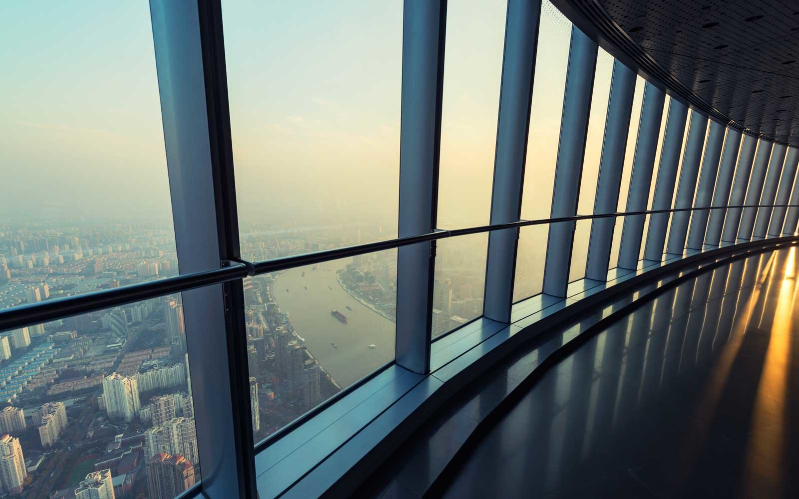 The high-rise viewing platform of the Shanghai Tower, China