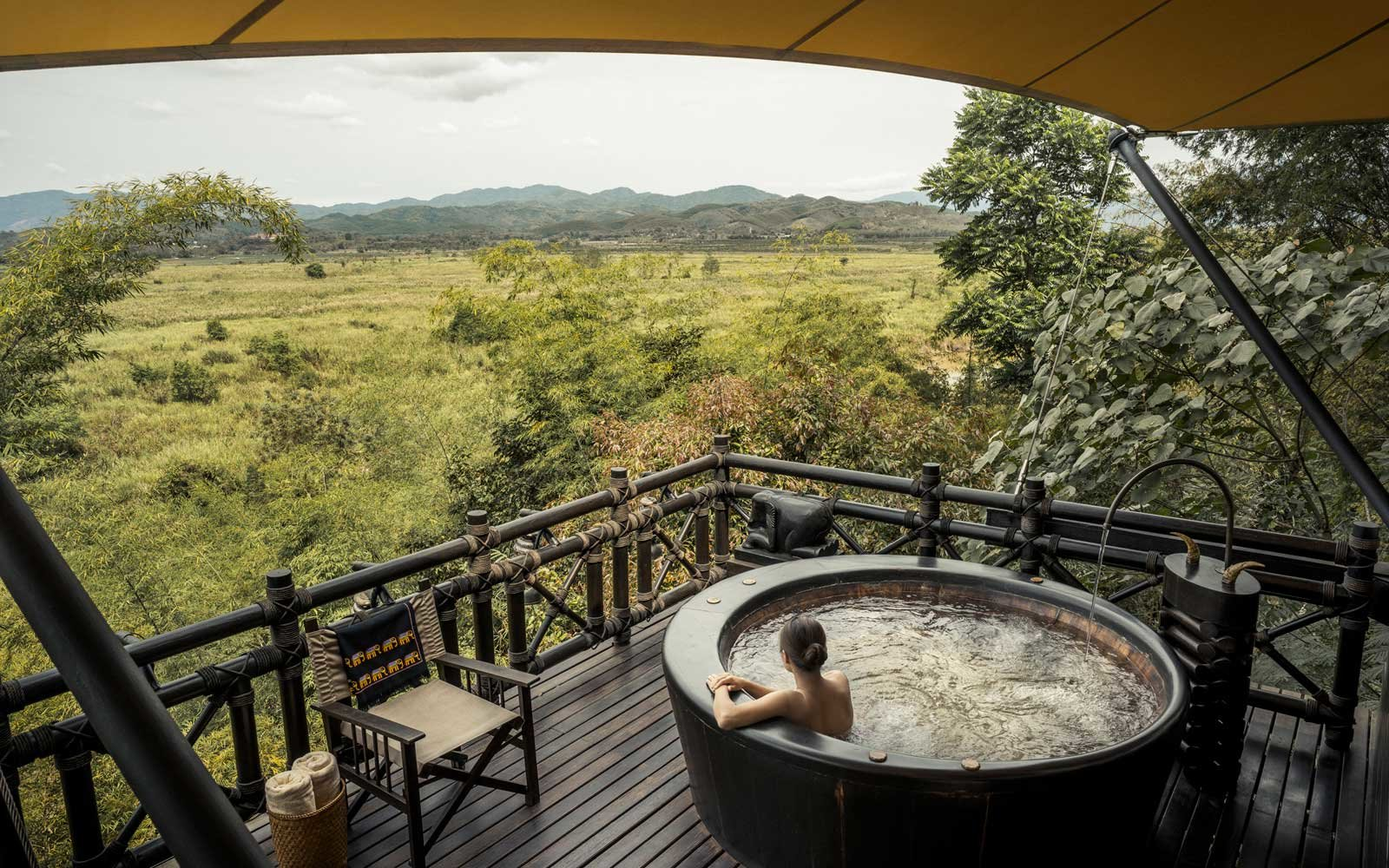Soaking tub at the Four Seasons Tented Camp Golden Triangle