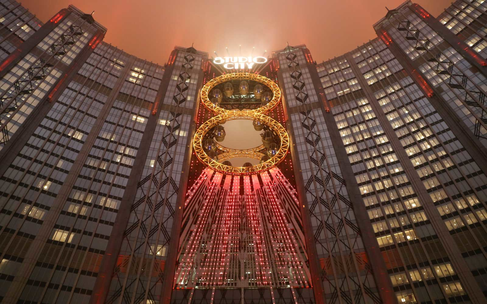 The number 8 shape Golden Reel Ferris wheel in Studio City Macau