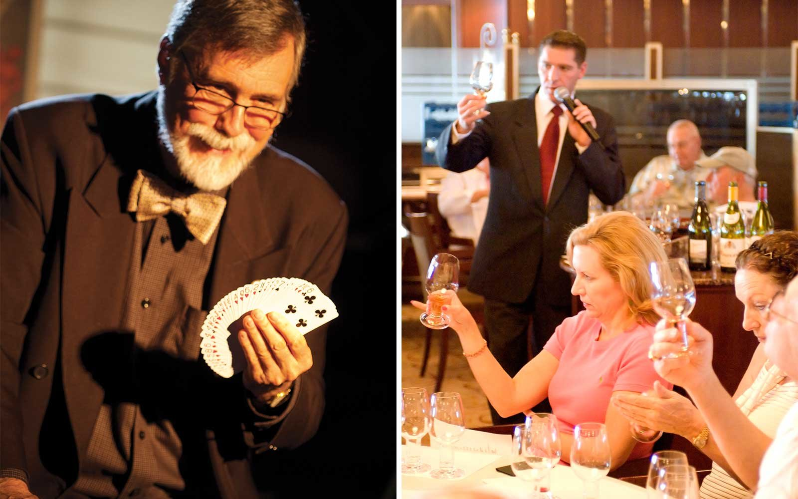 Enrichment programs on board the Crystal Symphony include magic lessons and wine tasting
