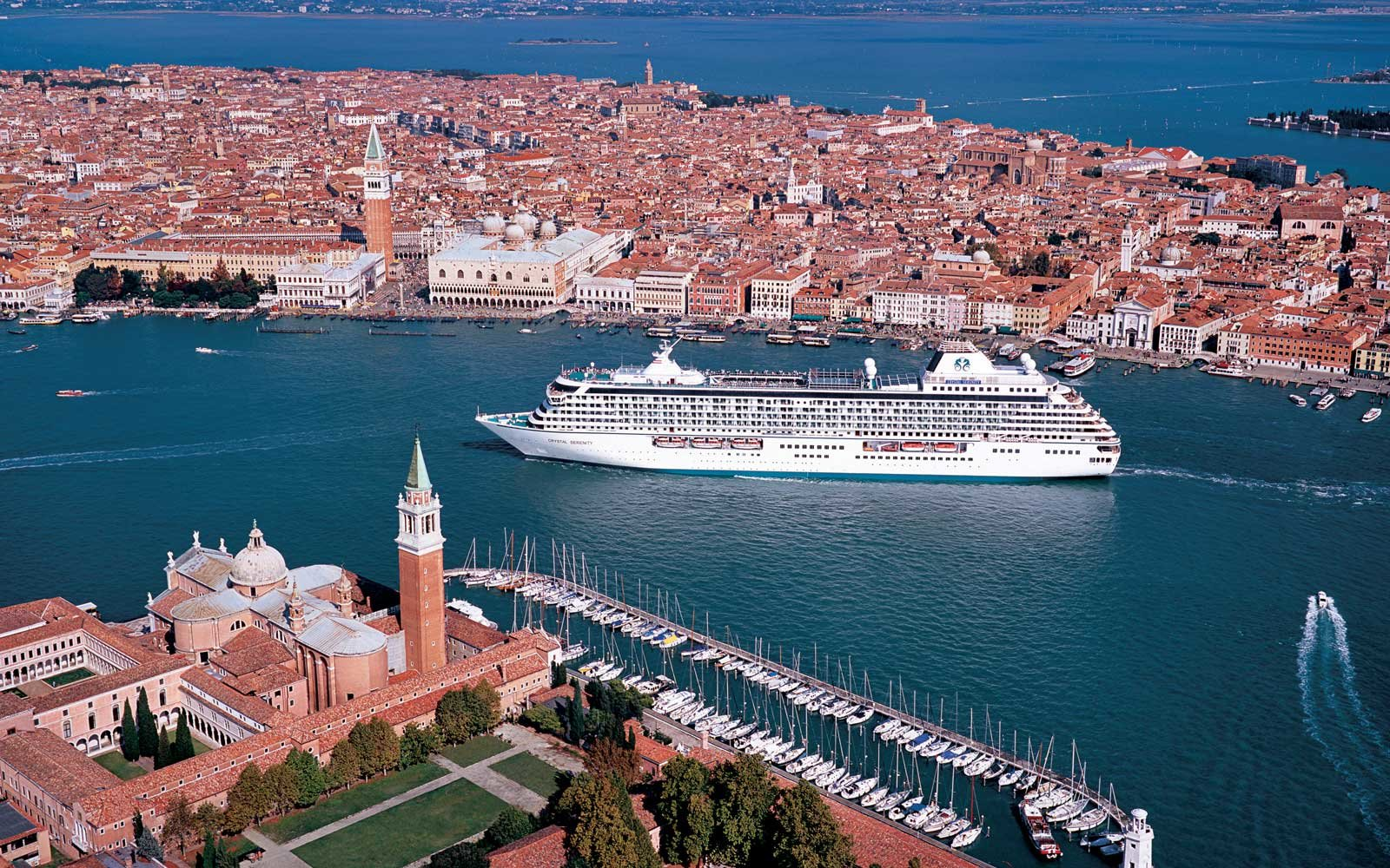 Crystal Serenity cruise ship in Venice, Italy