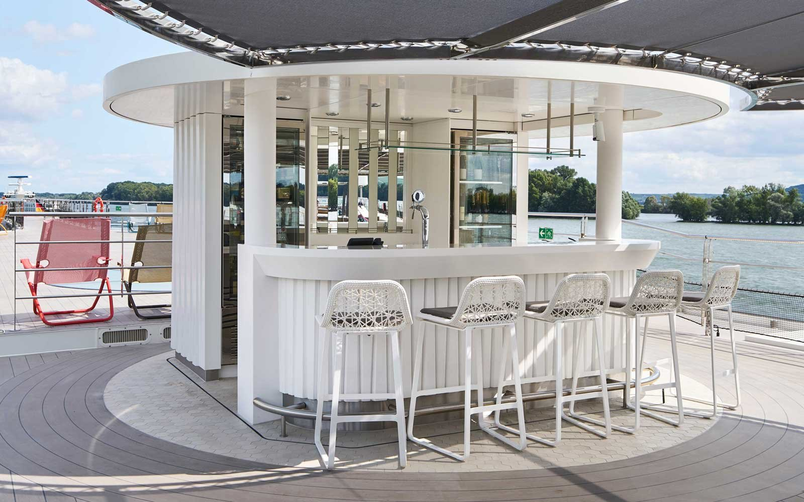 Vista View top deck bar on board Crystal Cruises Rhine class river ships