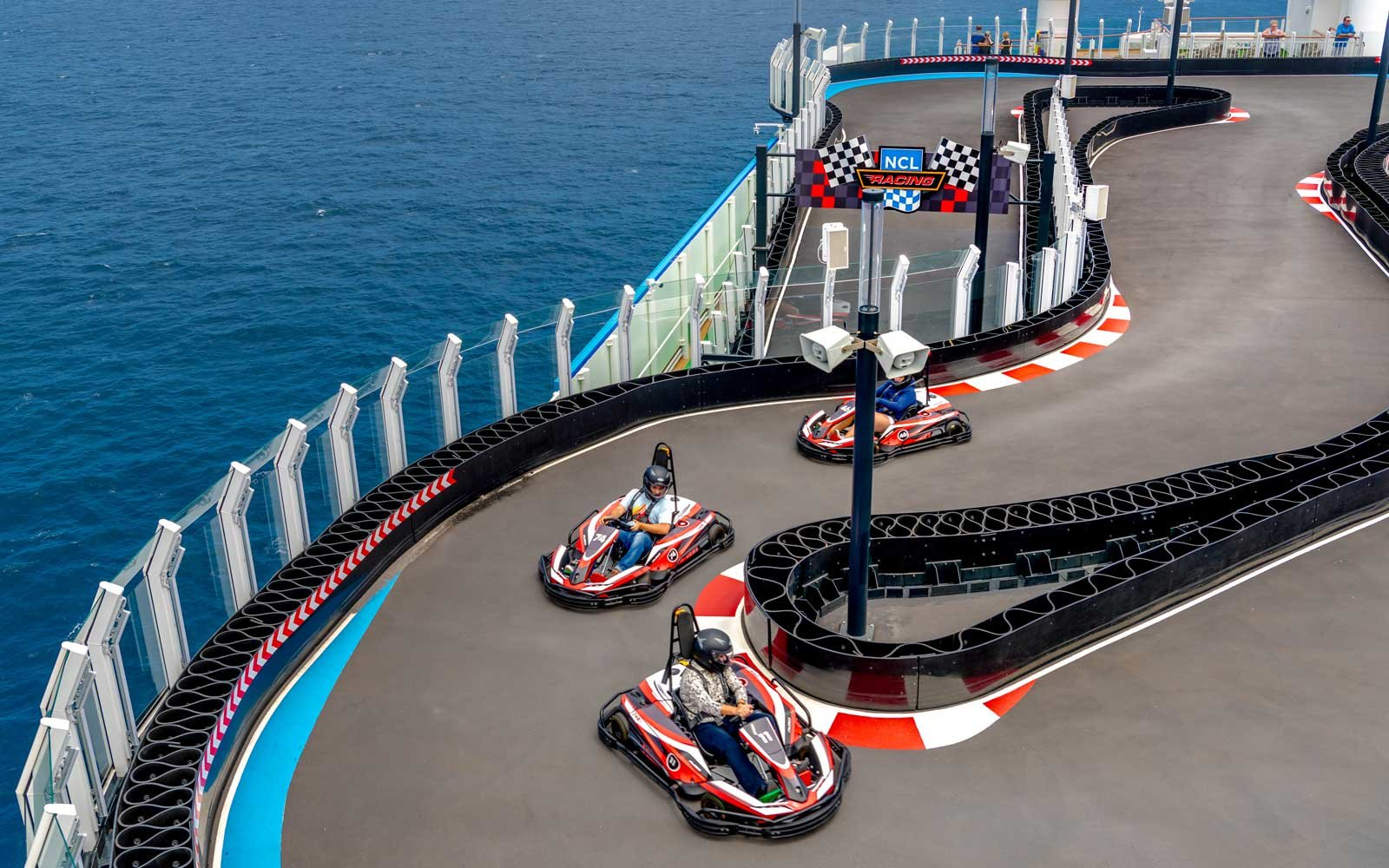 Go Kart racing on board the Norwegian Bliss cruise ship