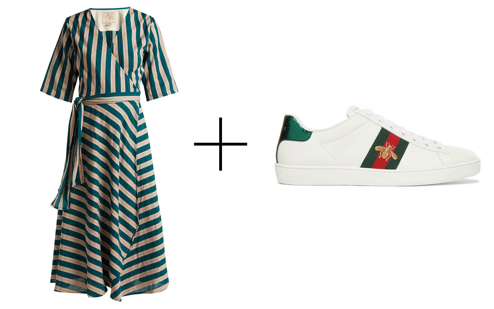Ace&Jig 'Annalise' Striped Cotton Wrap-dress & Gucci Embroidered Leather Sneakers