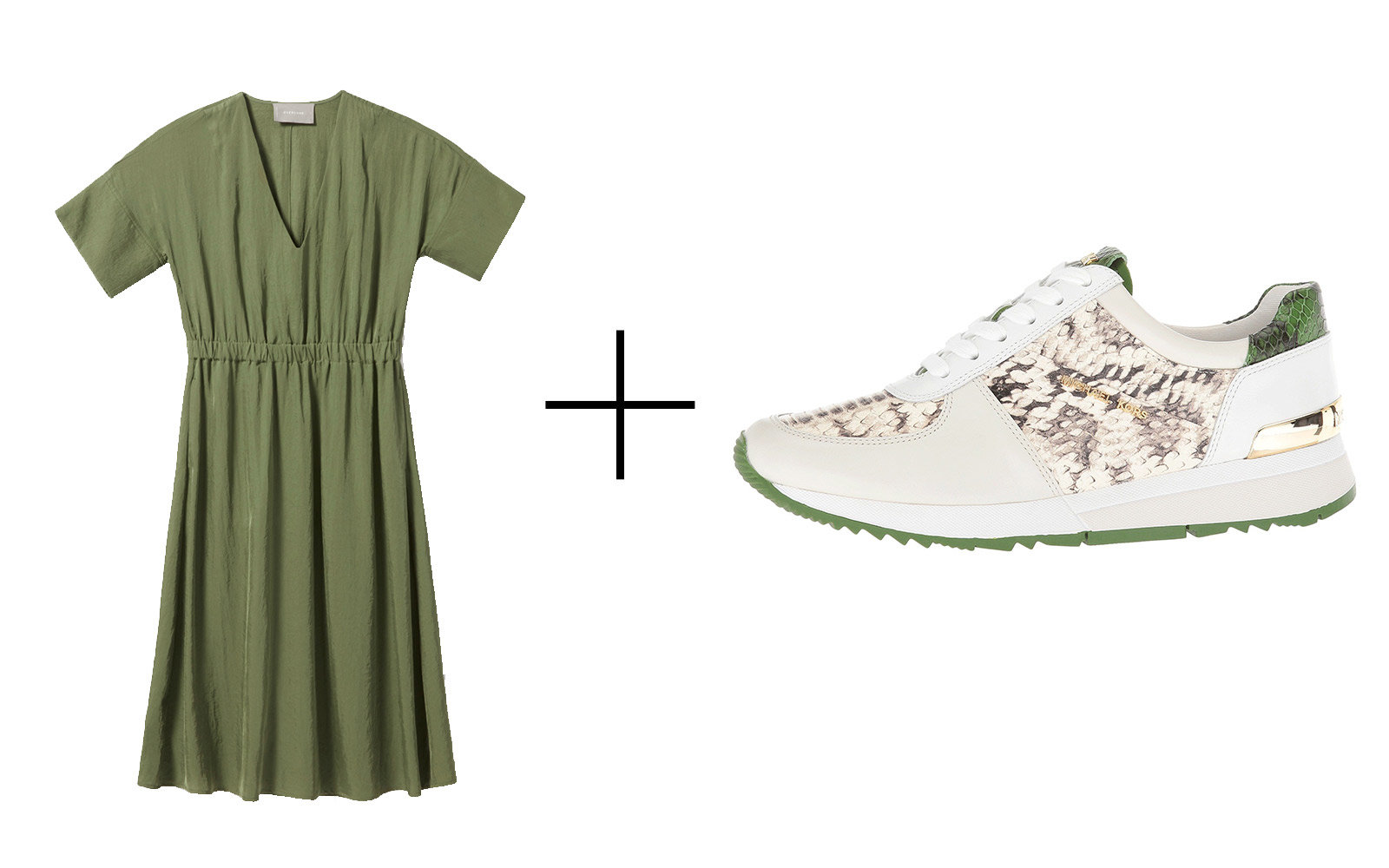 Everlane The Japanese GoWeave Light V-neck Dress & Michael Michael Kors 'Allie' Leather Trainer Sneakers