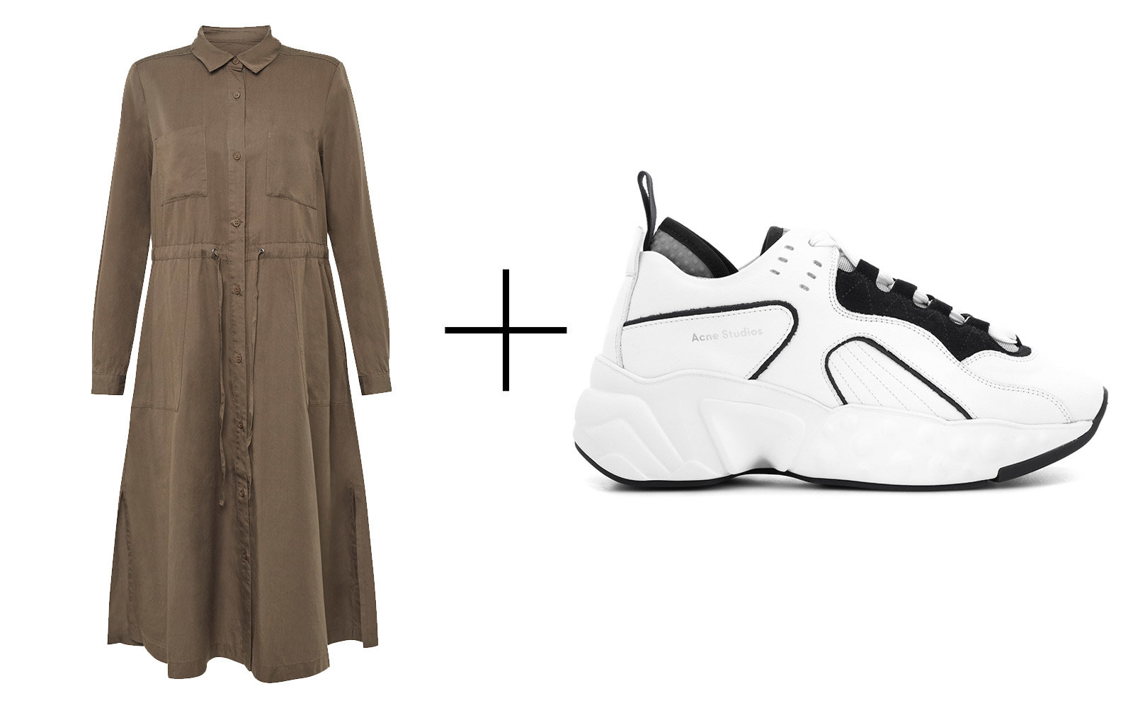 French Connection 'Aventine Plains' Midi Shirt Dress & Acne Studios 'Manhattan' Leather Sneakers