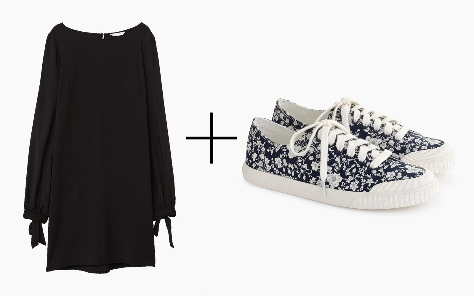 H&M Dress With Tie Sleeves & Tretorn 'Marley' Canvas Sneakers