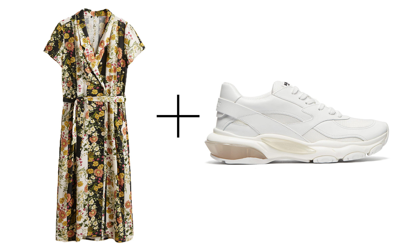 dress and sneakers outfit