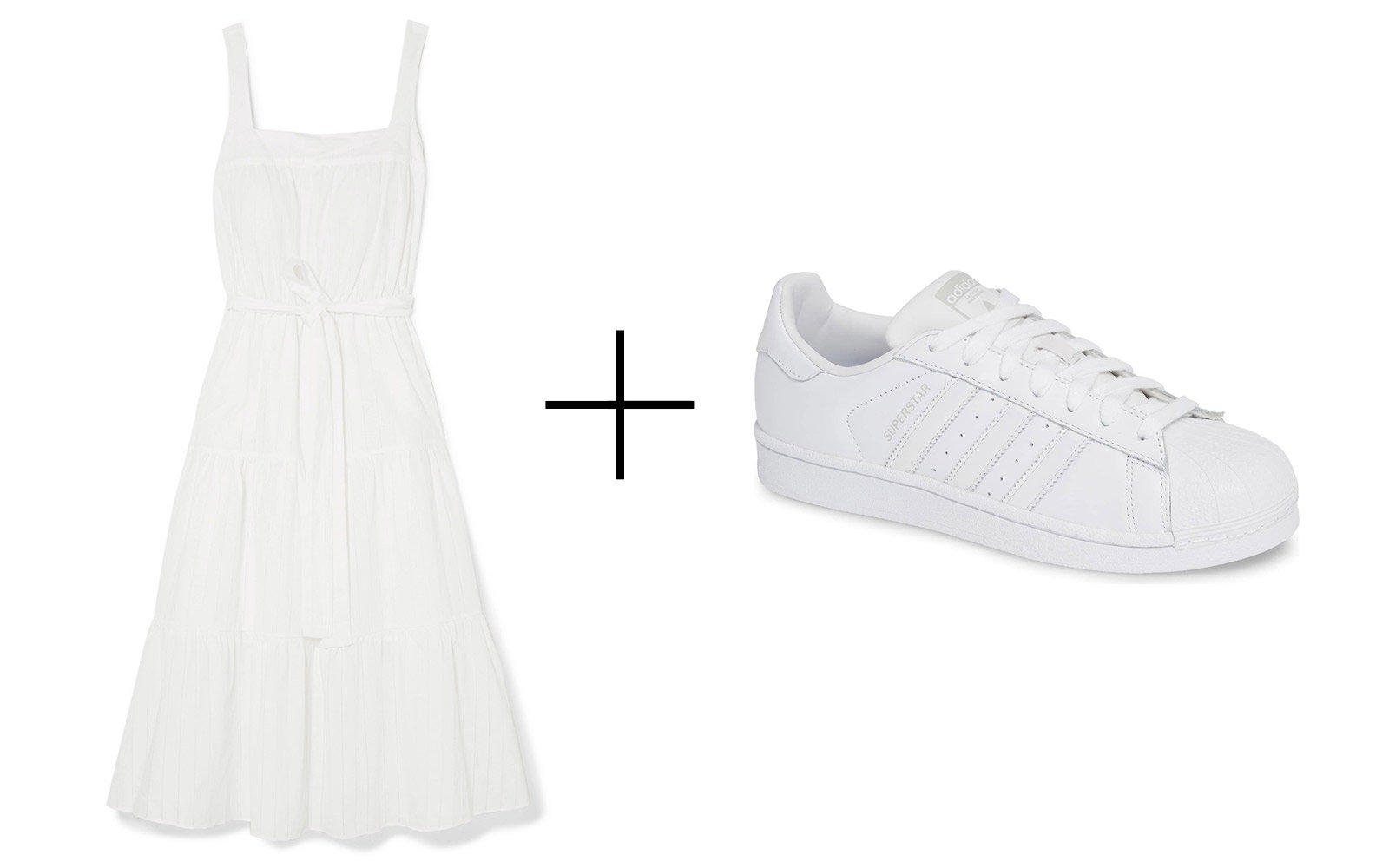 Michael Michael Kors Belted Midi Dress & Adidas 'Superstar' Sneakers