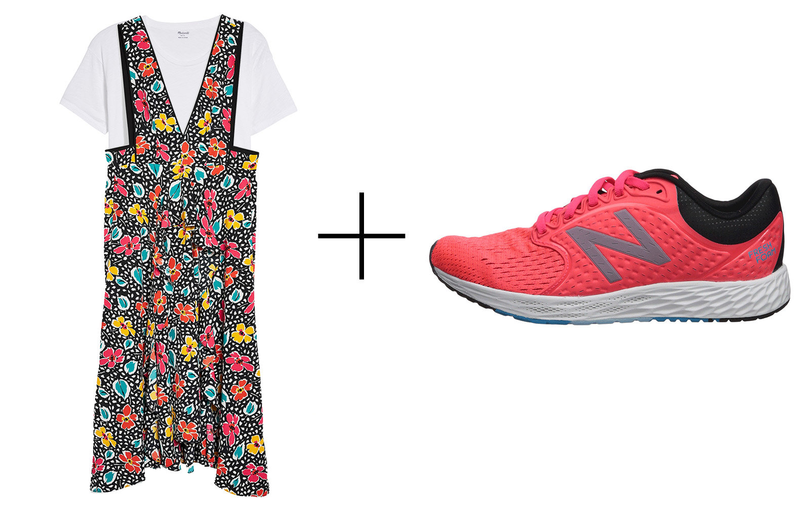 Topshop Pinafore Midi Dress With Madewell 'Whisper White' T-shirt & New Balance 'Fresh Foam Zante v4' Sneakers