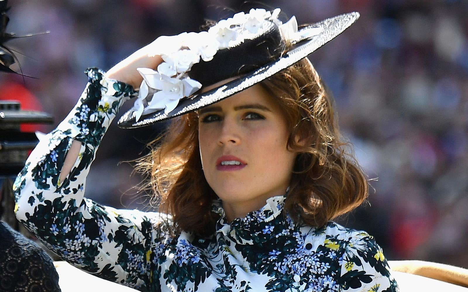 Princess Beatrice of York and Princess Eugenie of York arrive in the Royal Procession on day 3 of Royal Ascot at Ascot Racecourse on June 21, 2018