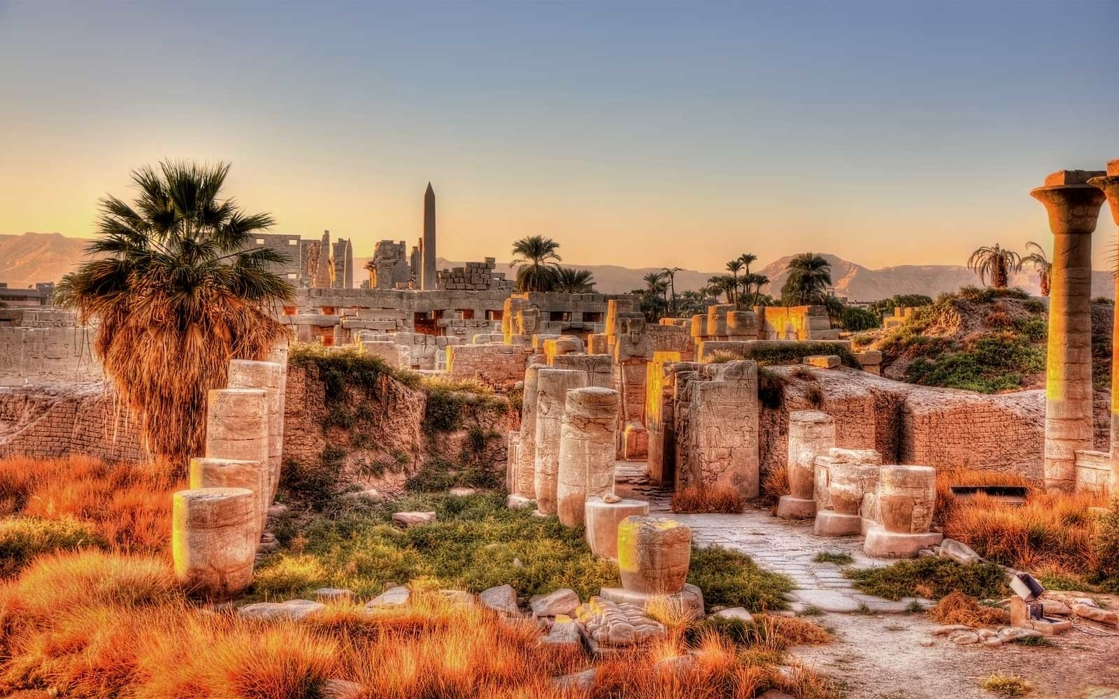 View of the Karnak temple in the evening, Egypt