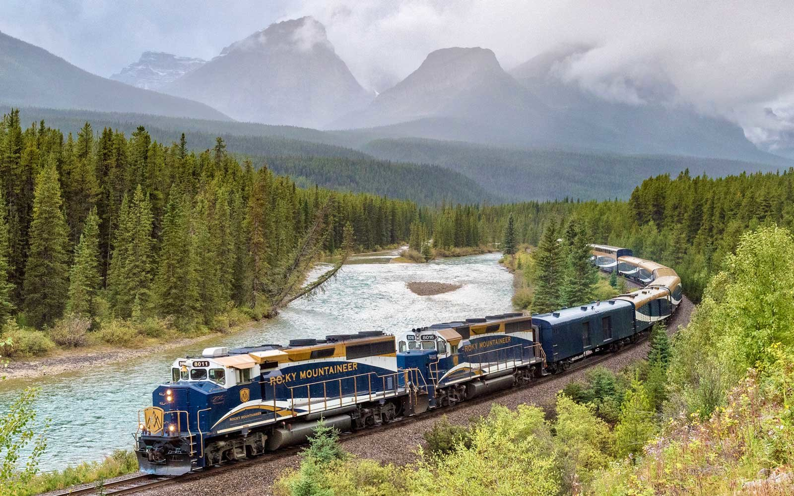 View of the Rocky Mountaineer train on Morant's Curve in Banff National Park, Lake Louise, Alberta, Canada