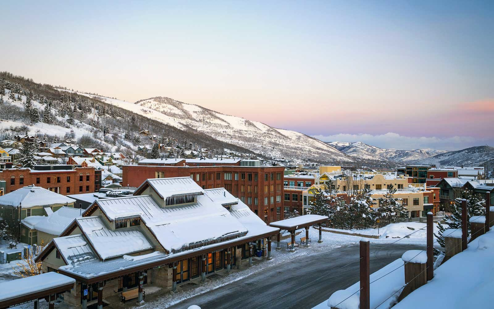 Winter sunset in Park City, Utah, USA
