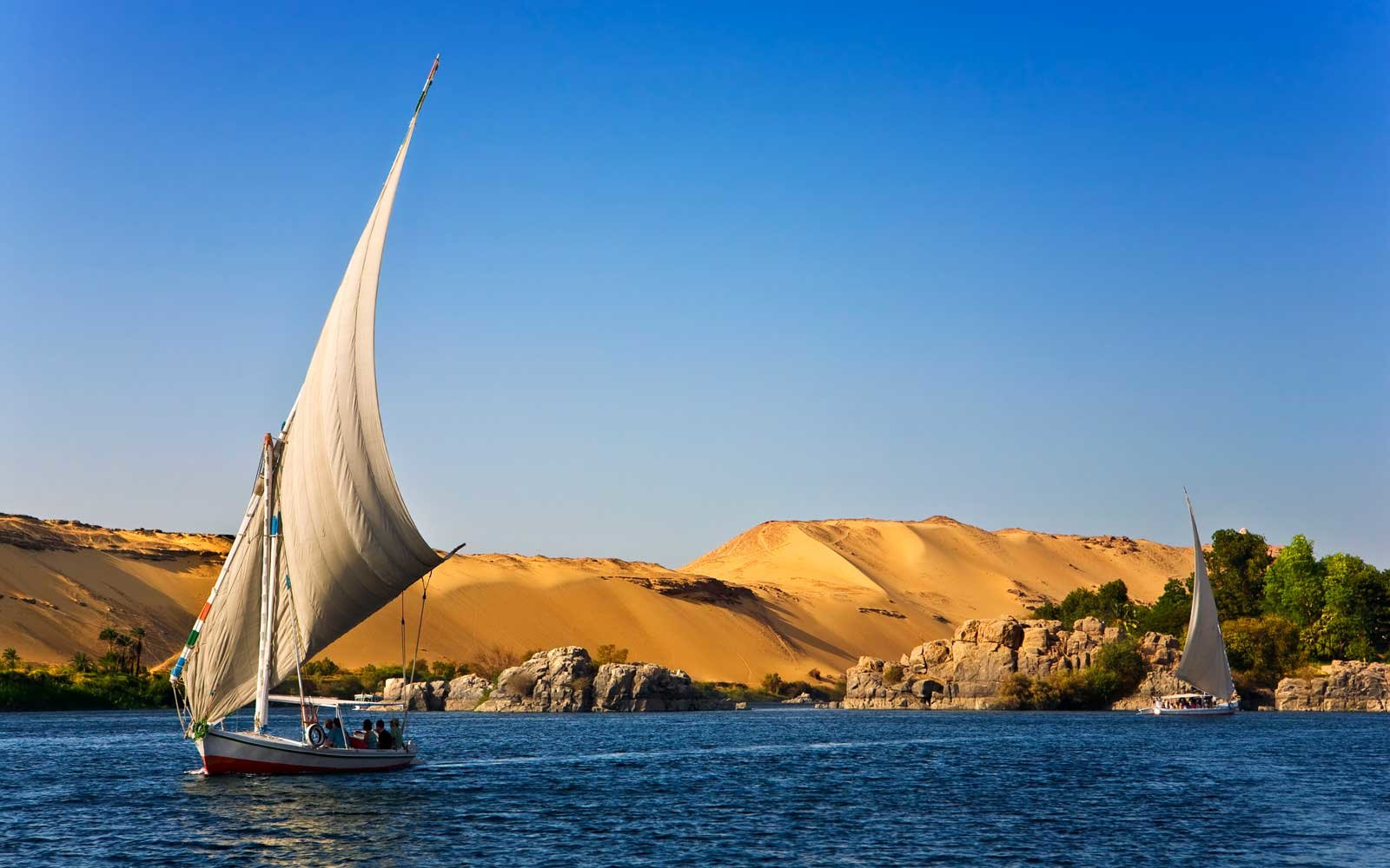 Traditional felucca sailing on the Nile in Egypt