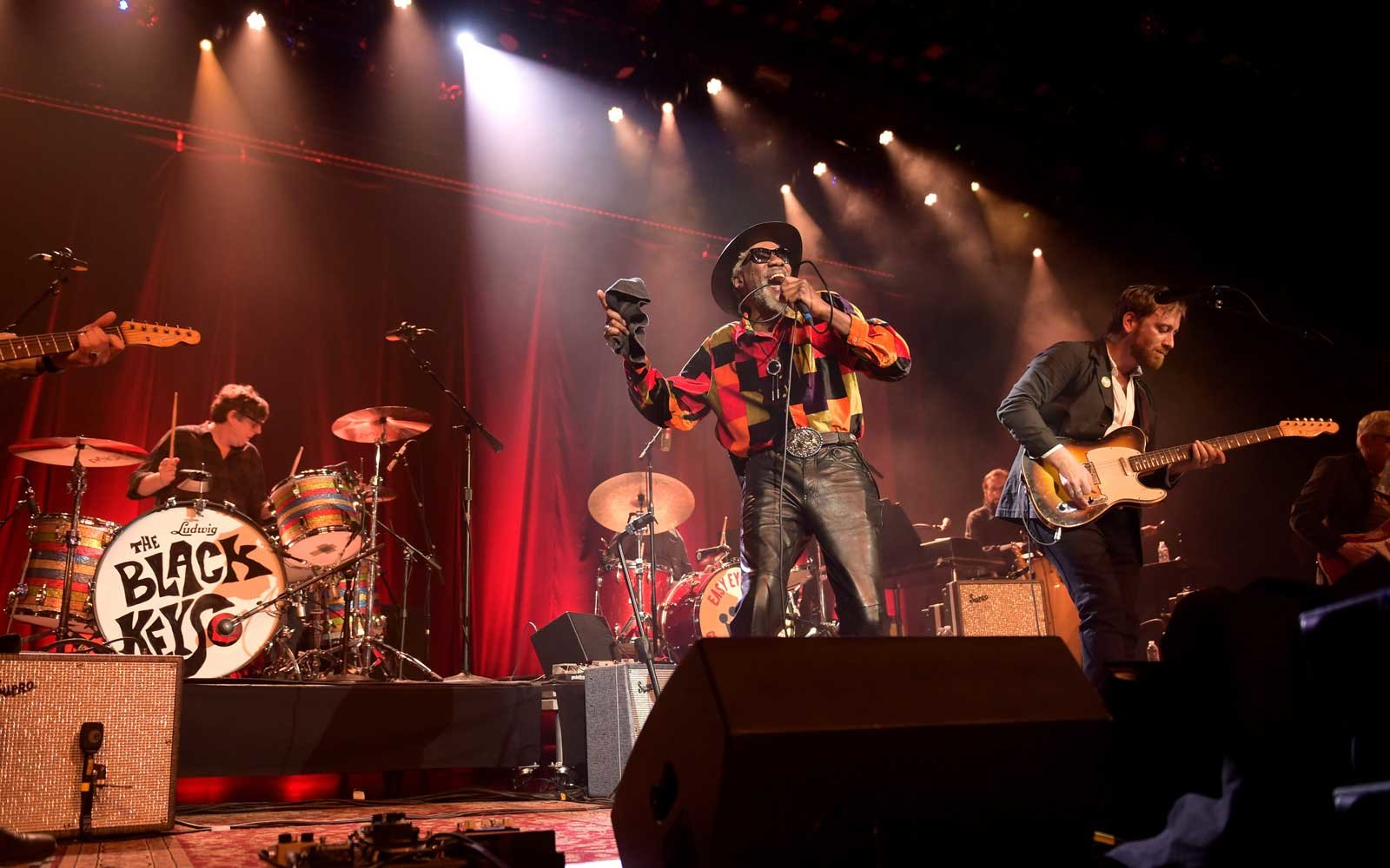 Drummer Patrick Carney, Singer Robert Finley and musician Dan Auerbach perform at Ryman Auditorium on February 25, 2018 in Nashville, Tennessee.