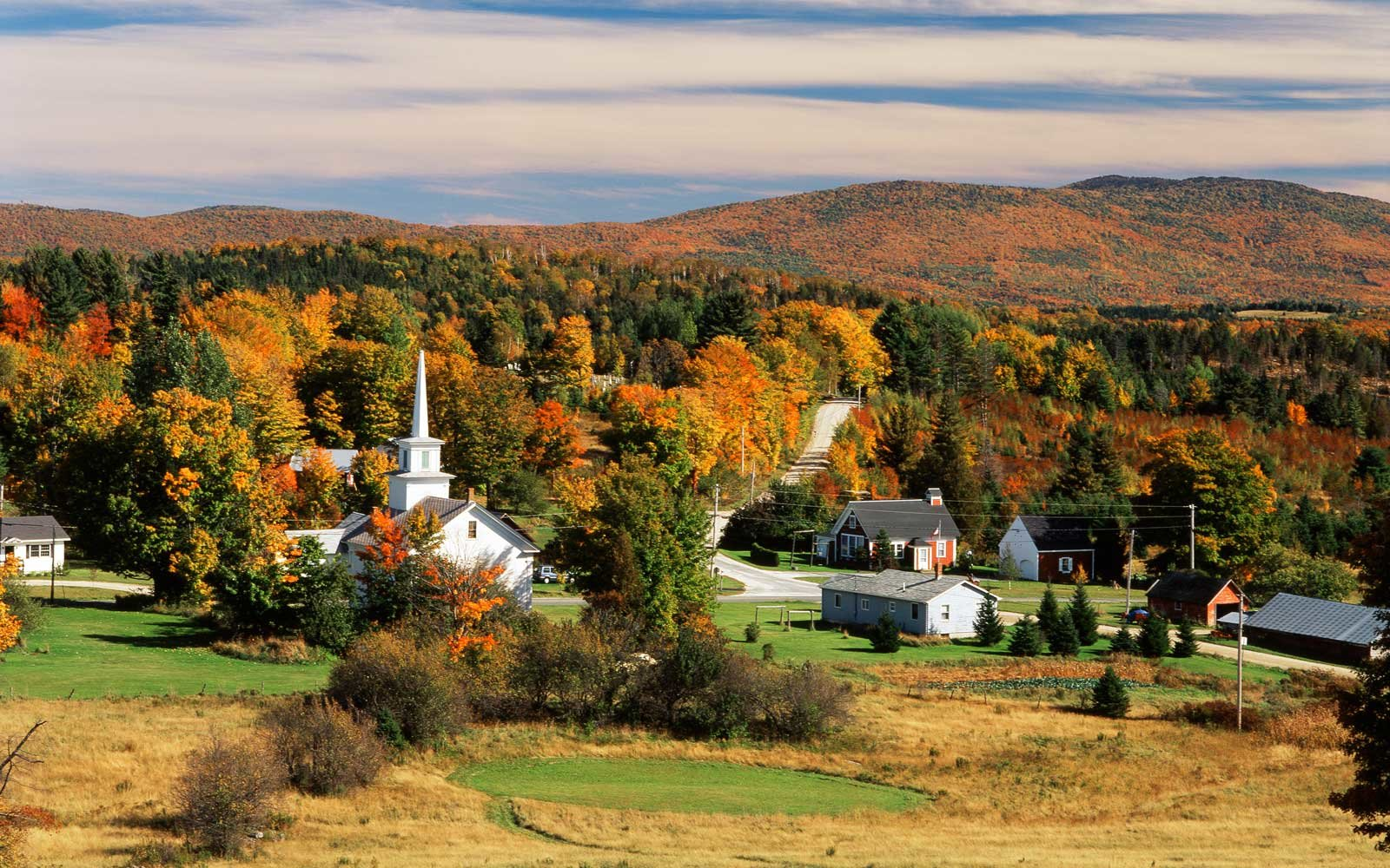View Of Town Newark, Northeast Kingdom, Vermont, USA