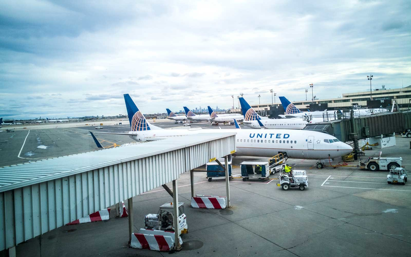 United Airlines planes at Newark International Airport