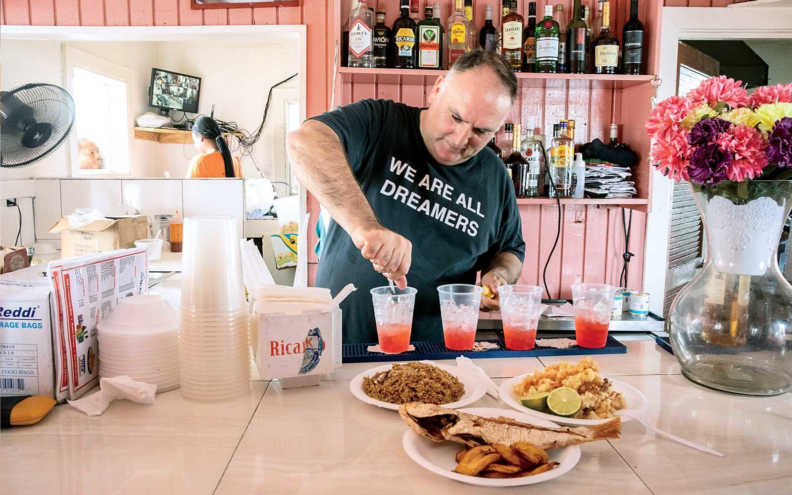 Chef Jose Andres at McKenzie's Bar in the Bahamas