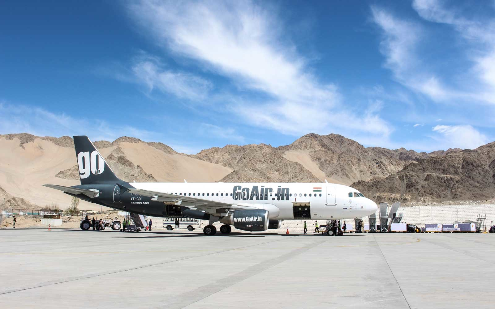 Indian domestic airline GoAir is ready to go from Leh Ladakh airport.