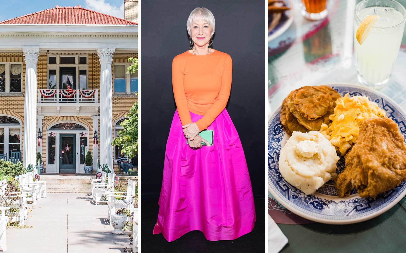 Helen Mirren goes on a foodie road trip in the southern USA (shown: Blue Willow Inn)