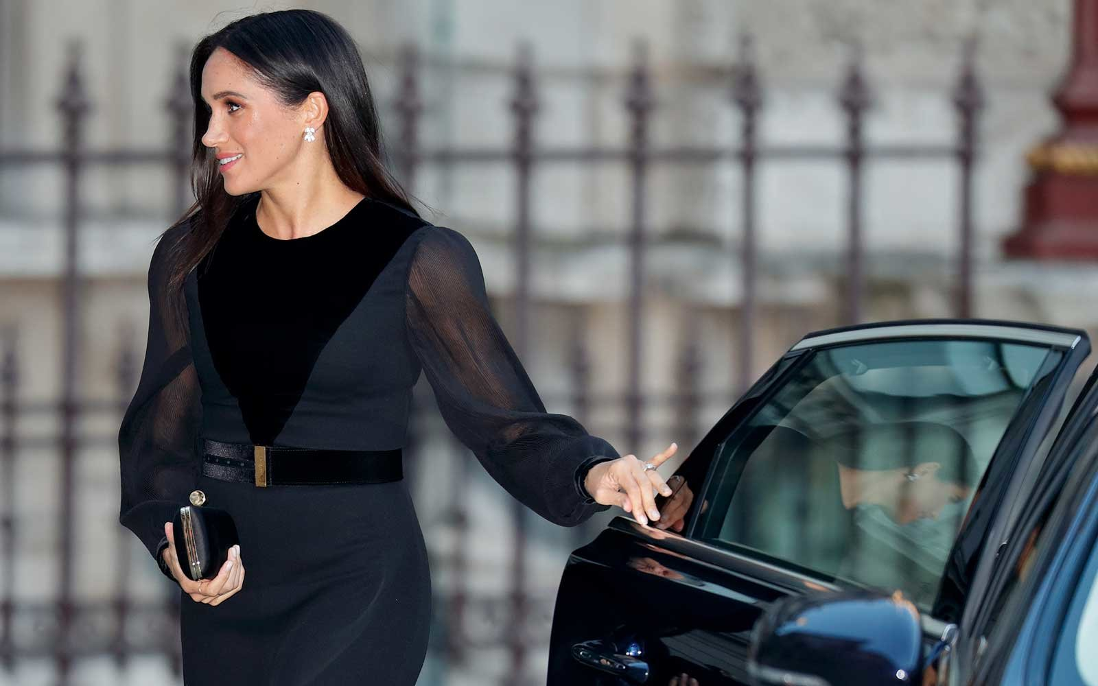 Meghan, Duchess of Sussex arrives to open 'Oceania' at the Royal Academy of Arts on September 25, 2018 in London, England. 'Oceania' is the first-ever major survey of Oceanic art to be held in the United Kingdom.