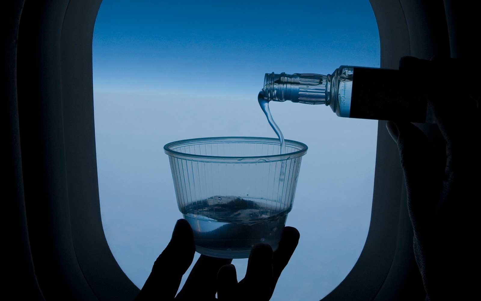 Alcoholic beverage on plane