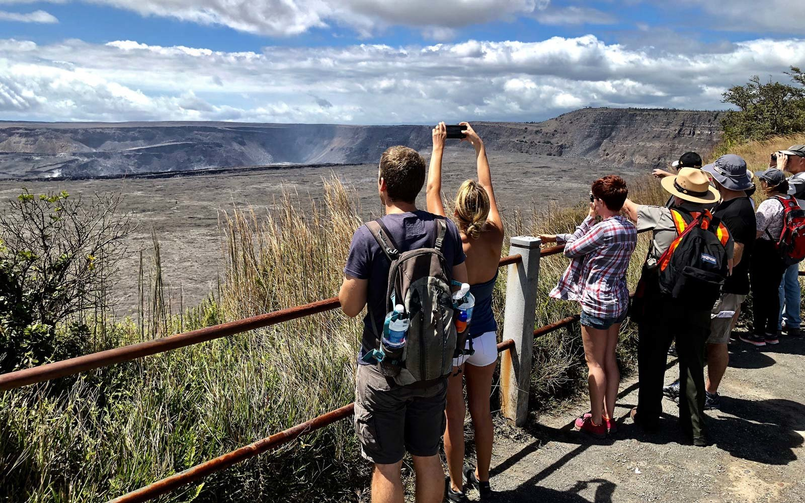 Steaming Bluff offers excellent views of Kīlauea Caldera and the changes at Halema'uma'u Crater.