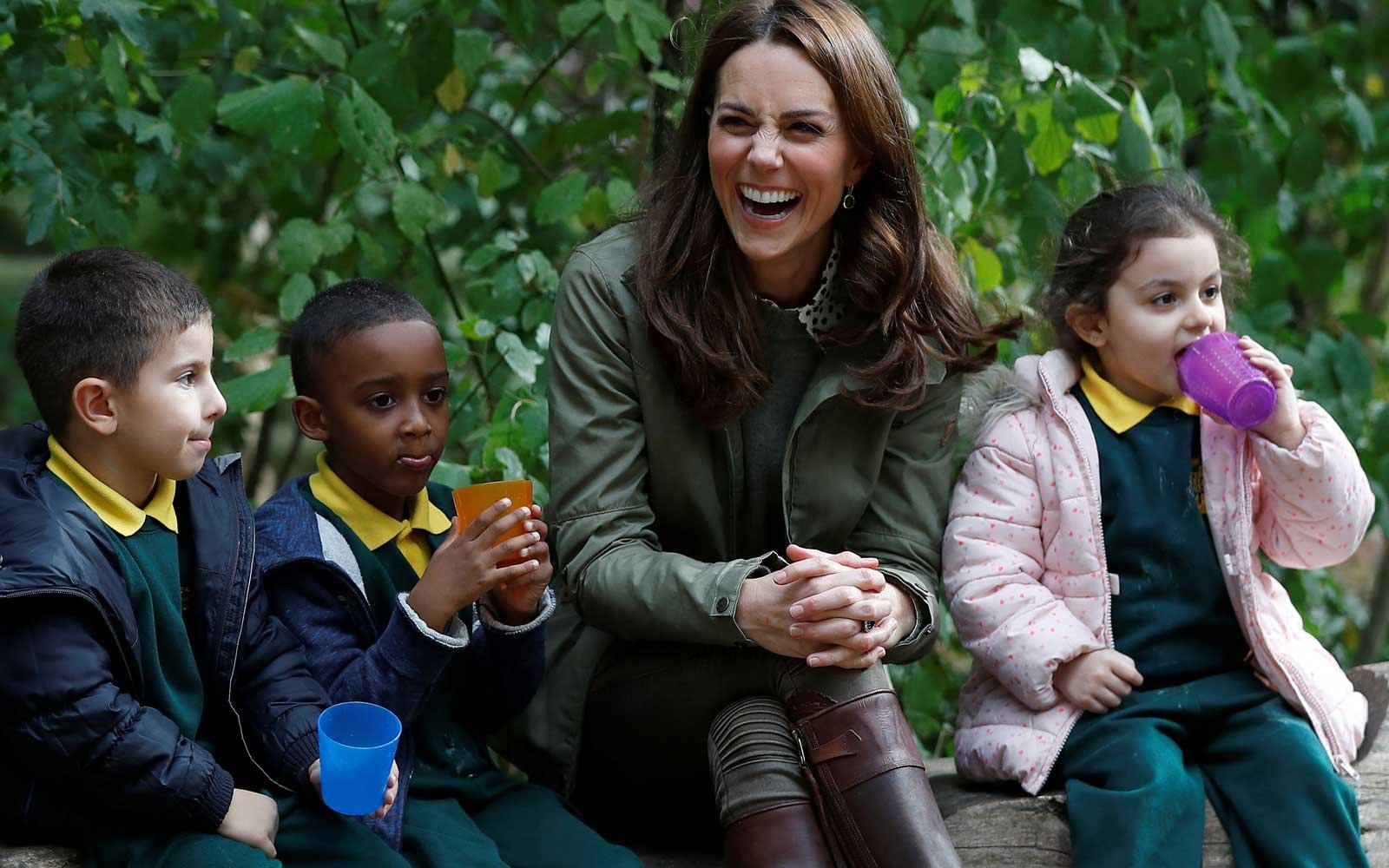 Kate Middleton with Kids at school