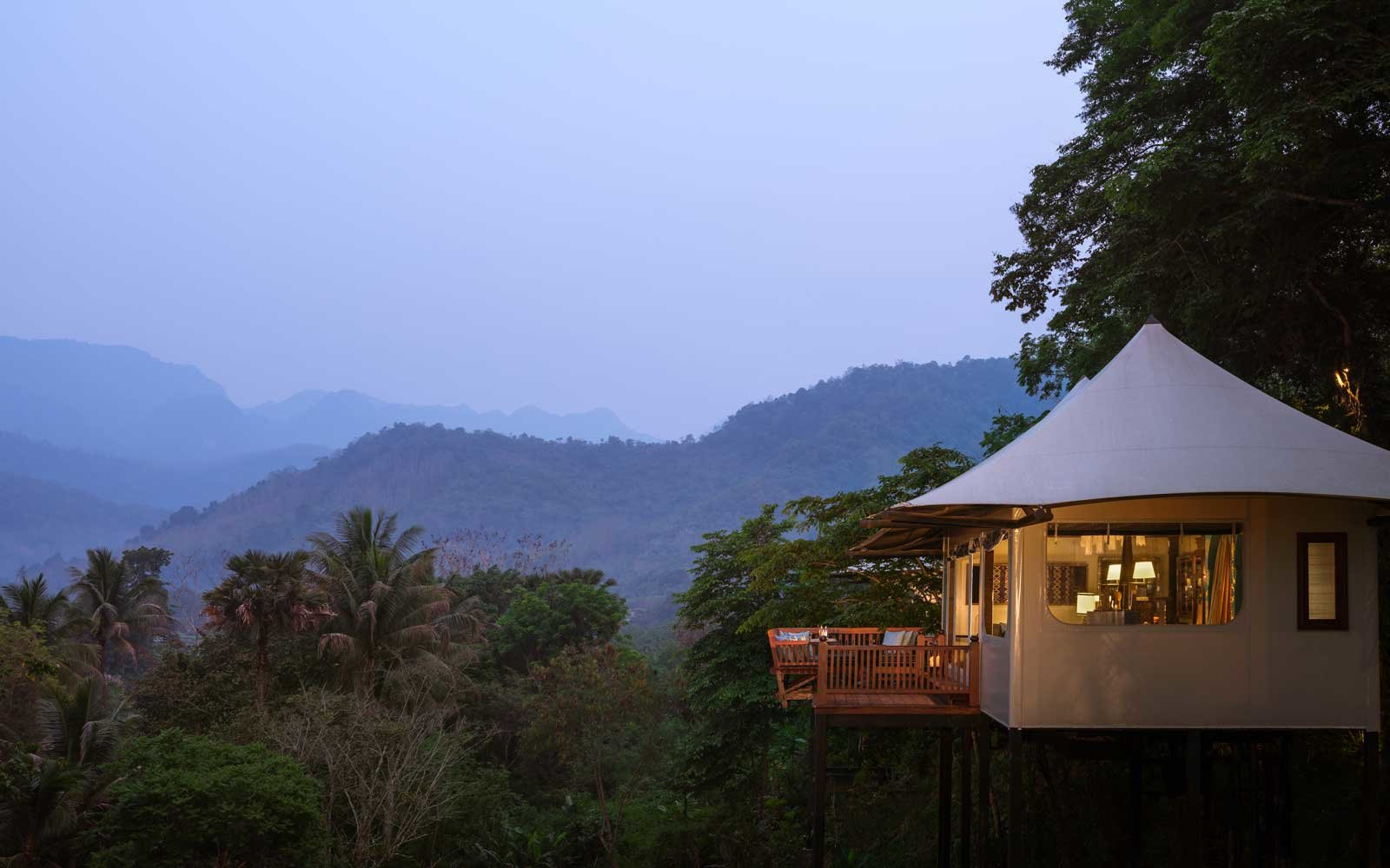 Exterior of a tented villa at the Rosewood Luang Prabang luxury resort