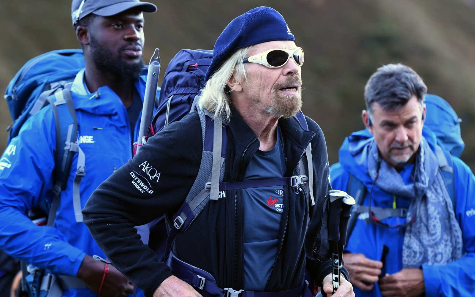 Sir Richard Branson (centre) and former gang leader Karl Lokko (left) as they climb Mont Blanc in the Alps on the final stage of the Virgin Strive Challenge.