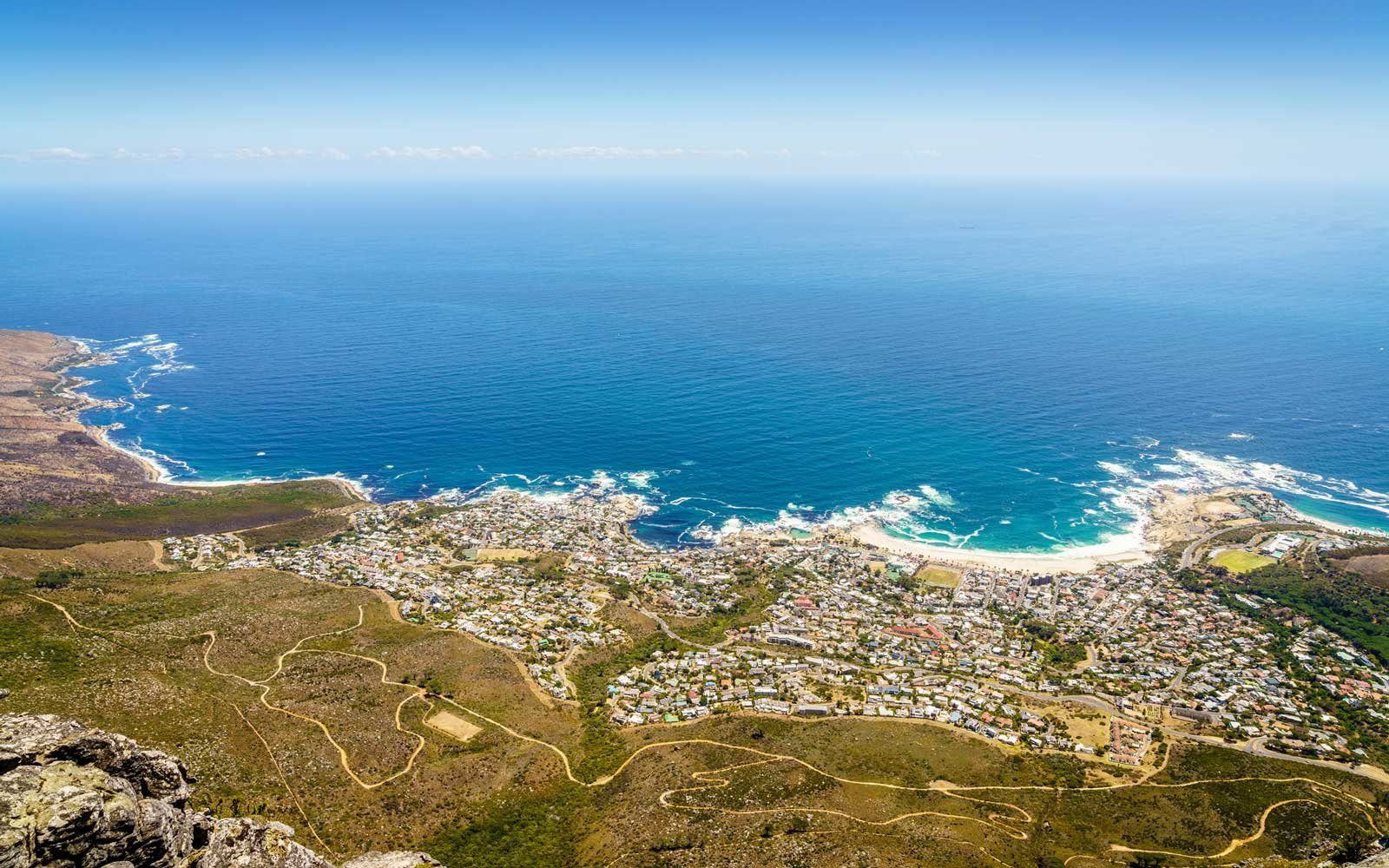 Aerial view of Camps Bay in Cape Town, South Africa