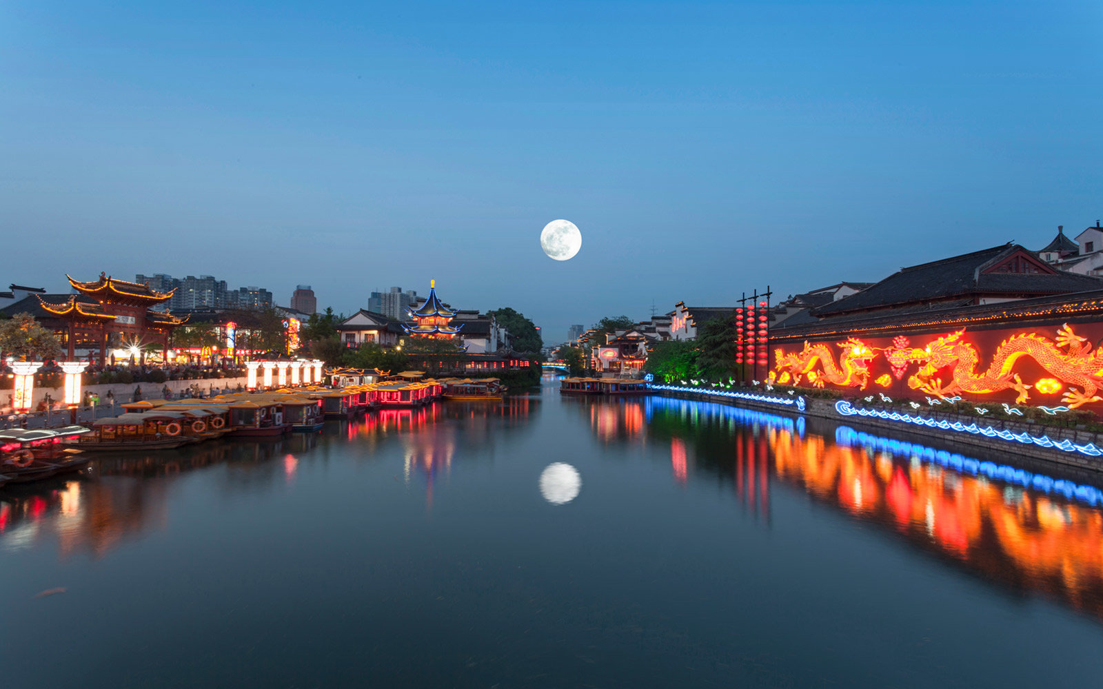 Full moon over Qinhaul River in Nanjing Jiangsu China