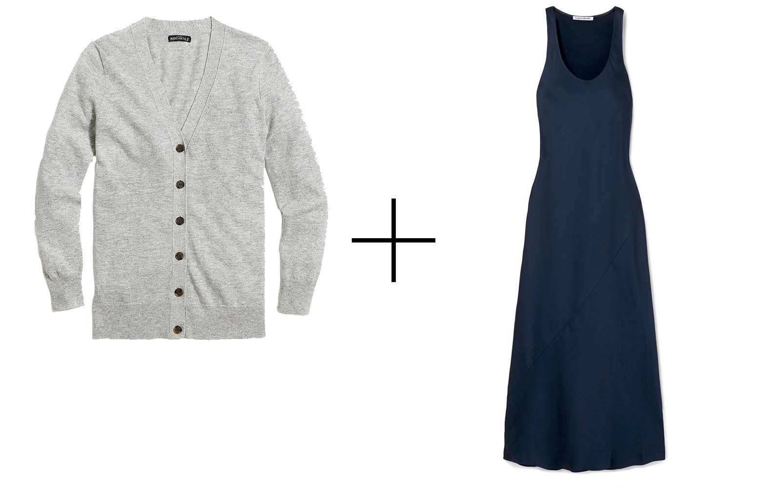 J.Crew Mercantile V-neck Cardigan + Elizabeth + James 'Malta' Satin-crepe Maxi Dress
