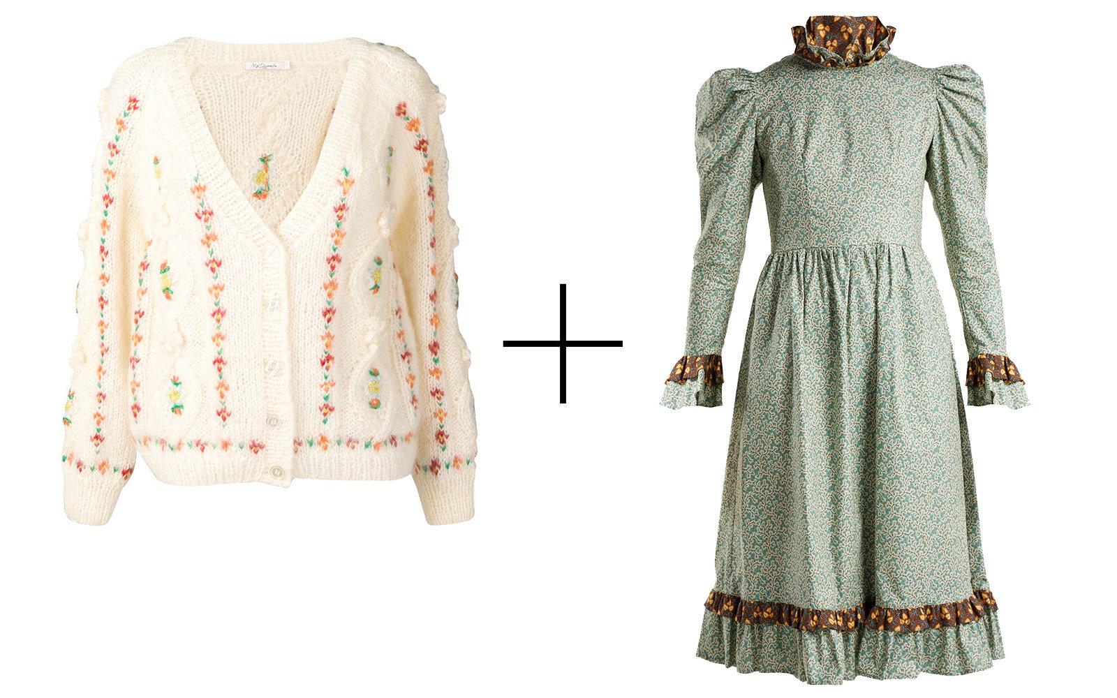 Mes Demoiselles 'Chelsea' Cable-knit Cardigan + Batsheva Floral-print Prairie Dress