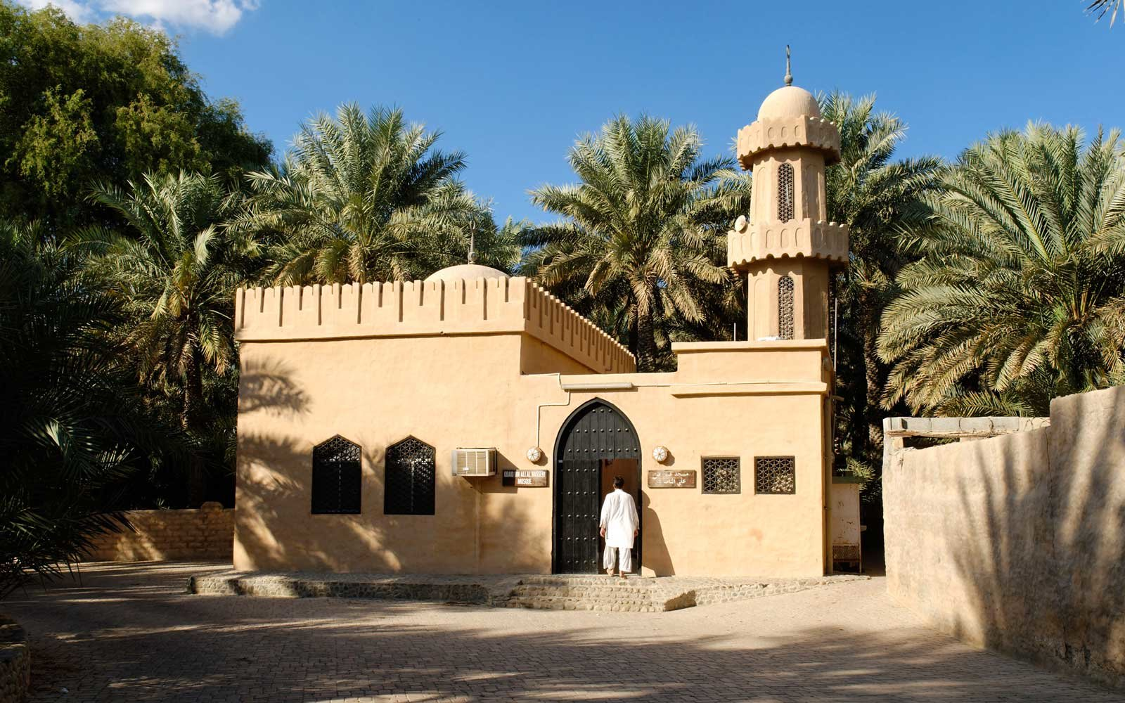 Mosque in the palm garden of the Al Ain Oasis, Emirate of Abu Dhabi, United Arab Emirates,