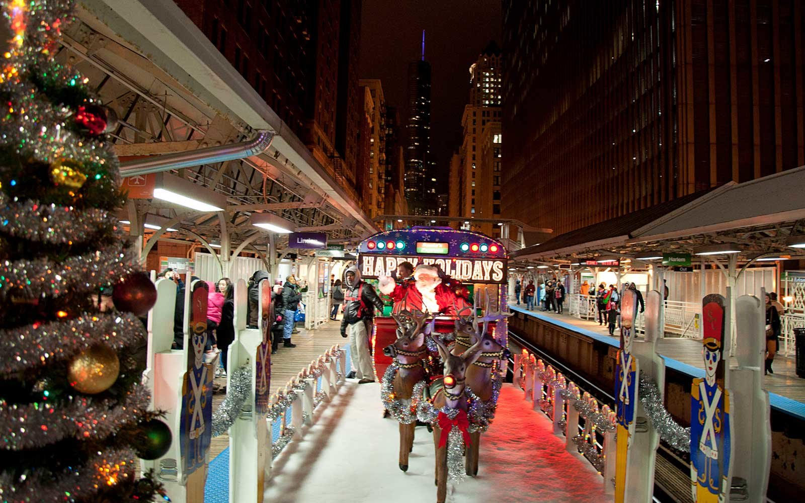 Each year, the Chicago Transit Authority runs its decorated Holiday Train on each of its eight rail lines from after Thanksgiving until right before Christmas Day.