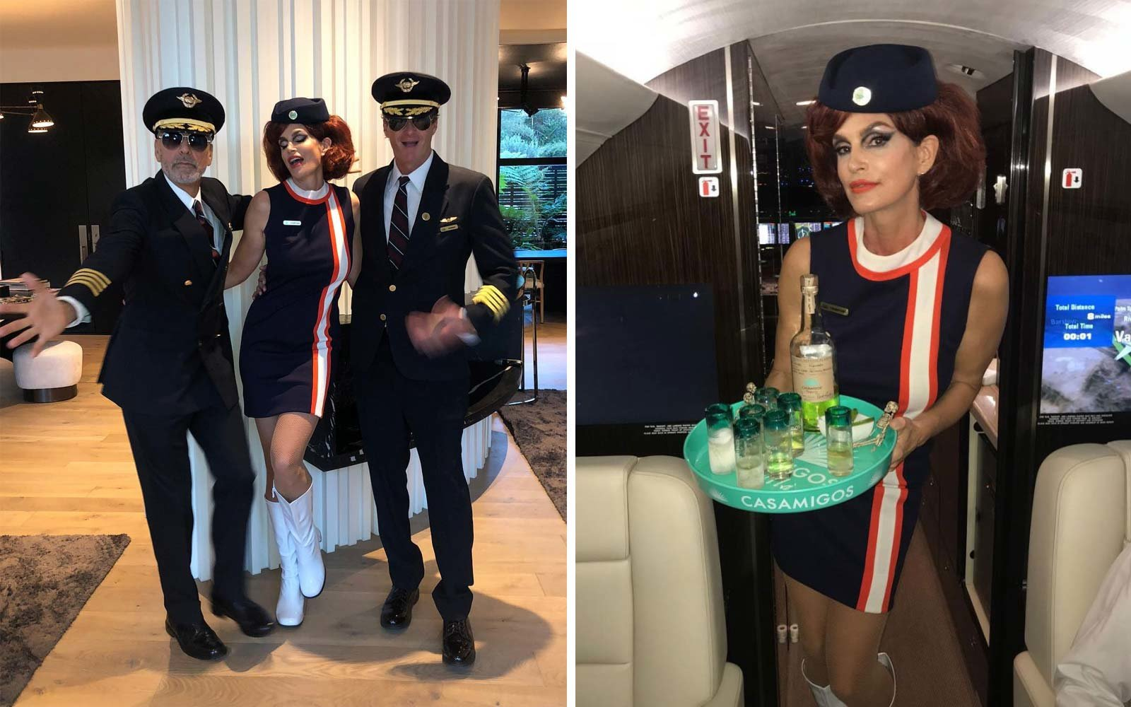 Cindy Crawford as a flight attendant, George Clooney as a pilot