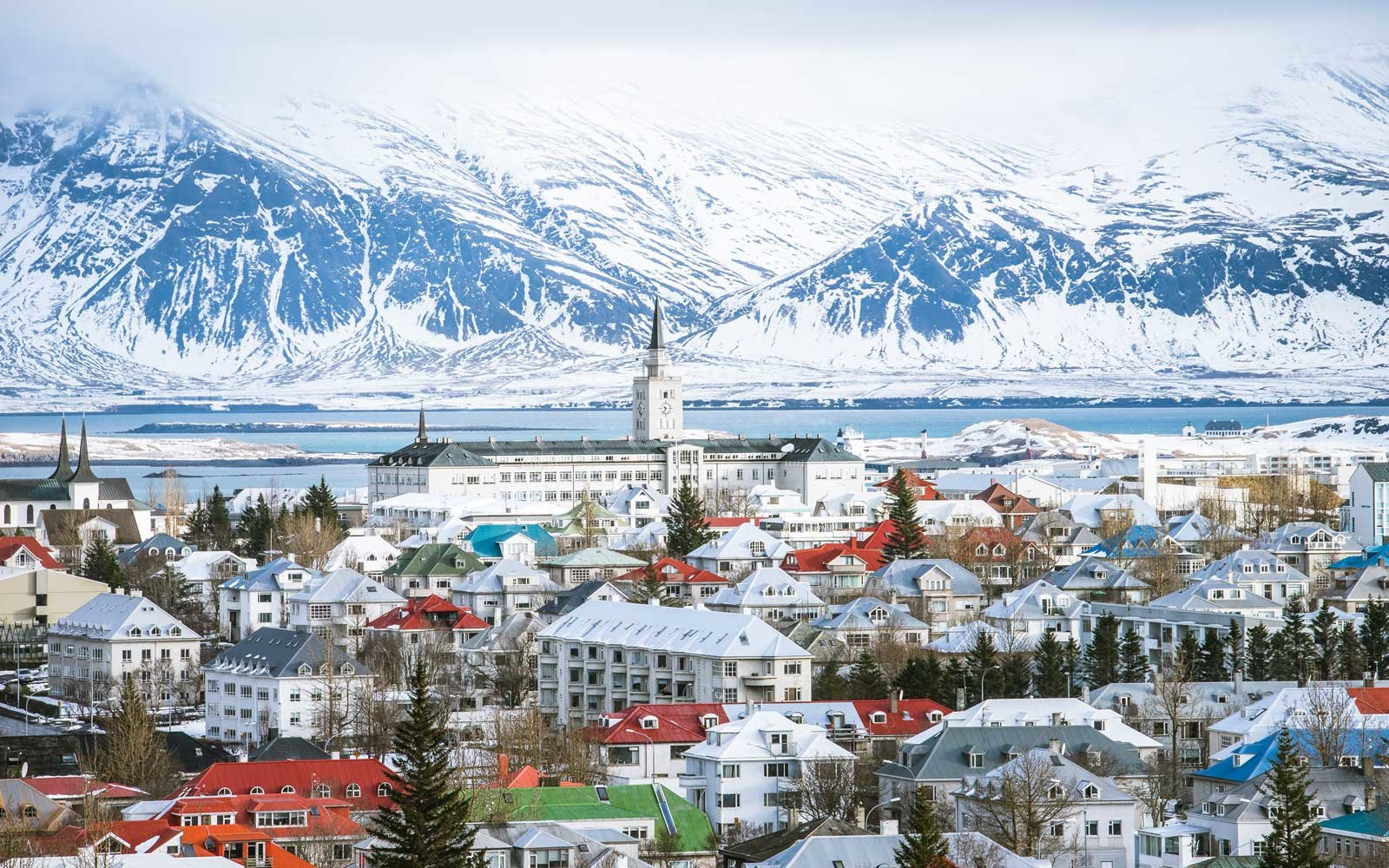 Reykjavik, the capital city of iceland, in winter view from above