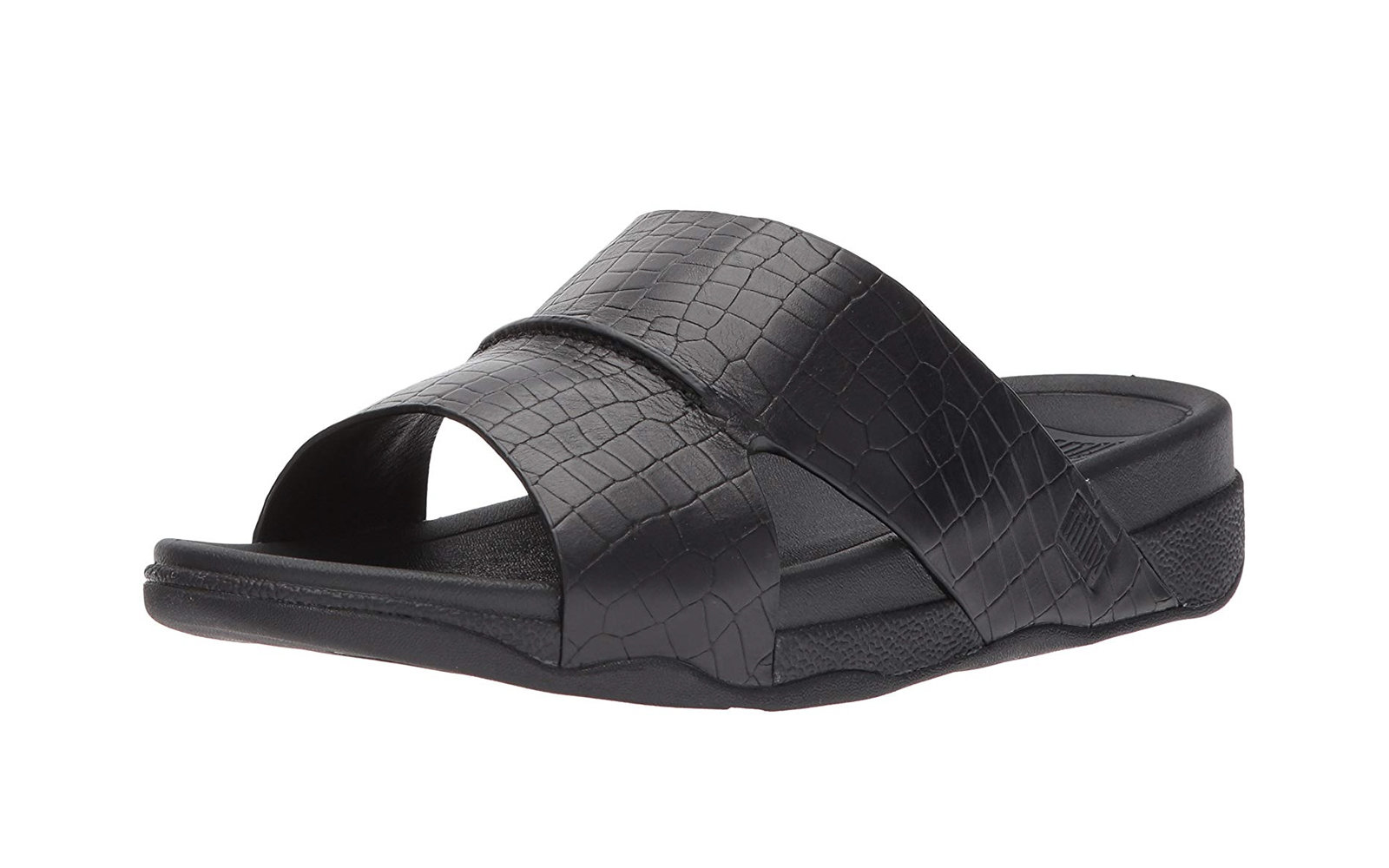 8eee1fd5641 FitFlop Men s Bando Leather Croc Slide Sandal