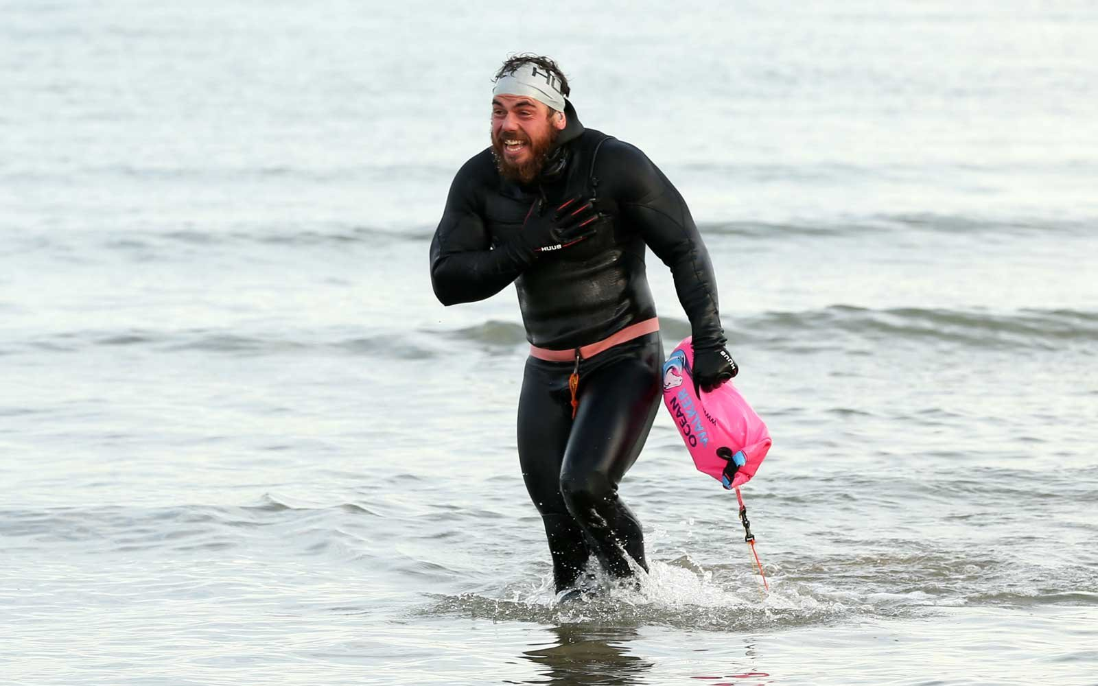 AND - NOVEMBER 04: Ross Edgley of England celebrates finishing his 'Great British Swim', an historic 2,000 mile swim around Great Britain on November 4, 2018 in Margate, England.