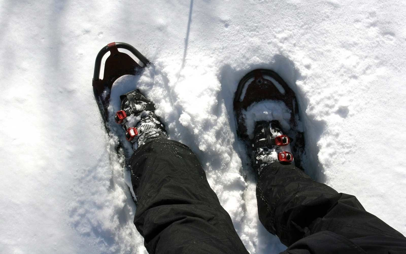 Man wearing high-performance snow shoes