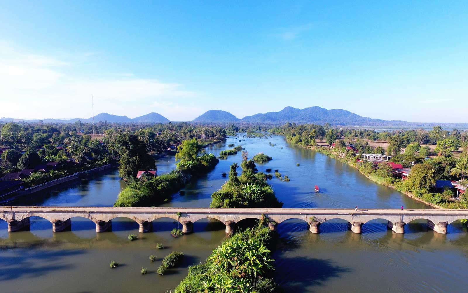 Aerial view of Si Phan Don in Champasak Province, Laos