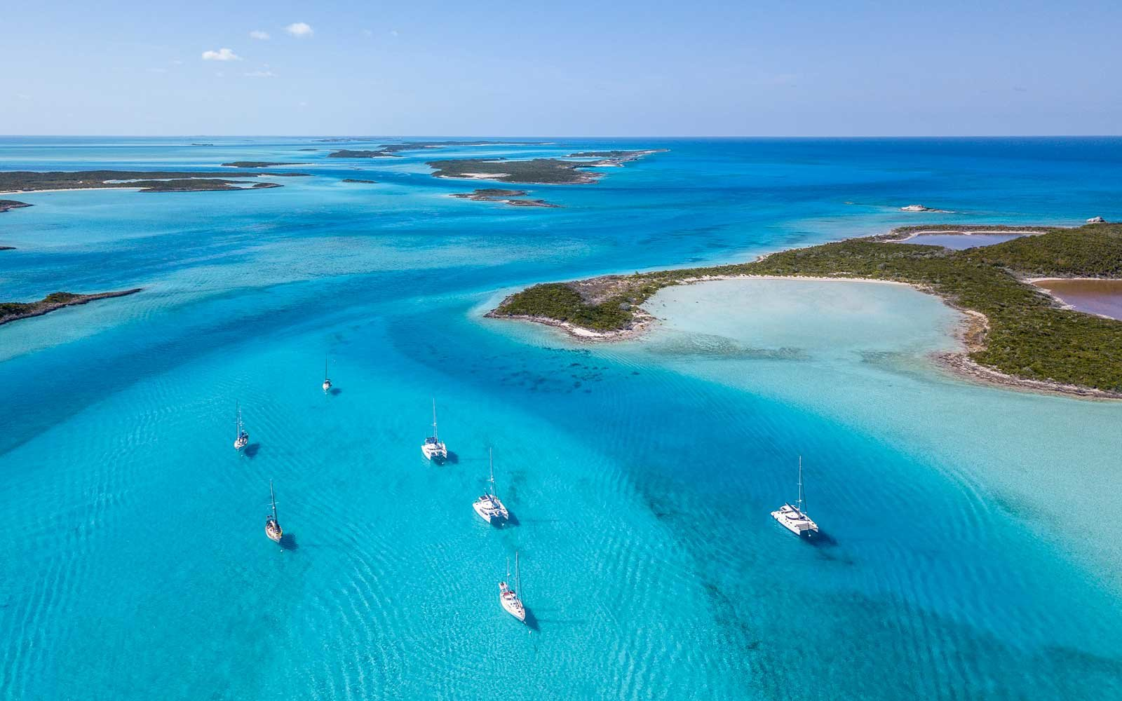 Aerial view of the Exumas islands in the Bahamas